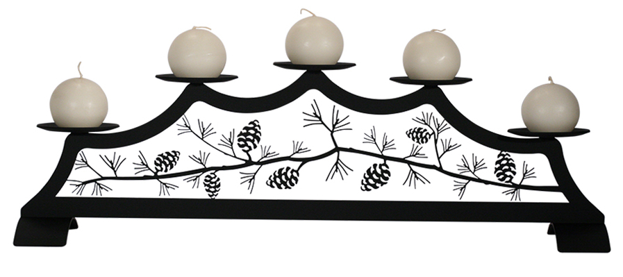 wrought iron pinecone candle holder alt