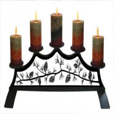 Wrought Iron Pinecone - Fireplace Pillar Candle Holder