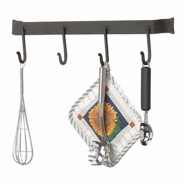 Wrought Iron Pot Rack 24 7/8 inch with 4 Stationary Hooks