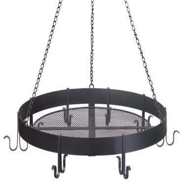 Wrought Iron Pot Rack Round Hanging with 8 Hooks
