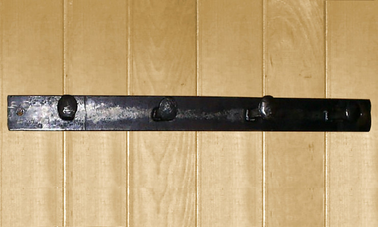 Wrought Iron Railroad Spike Coat Rack 4 Hook