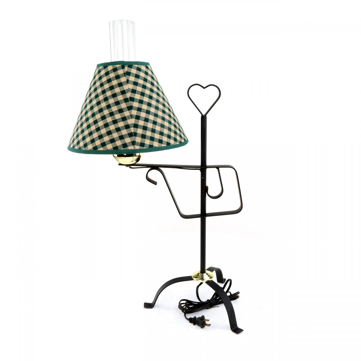 Wrought Iron Table Lamp Country Heart Design With Fabric