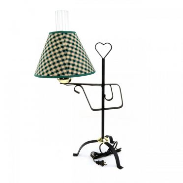 Wrought Iron Table Lamp | Country Heart Design with Fabric Shade
