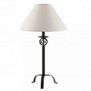 Wrought Iron Table Lamp | Open Basket Design with Fabric Shade