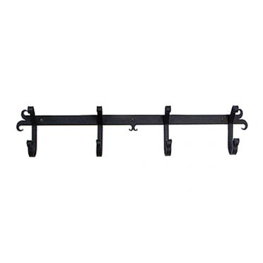 Wrought Iron Wall Mounted Coat Rack | Rams Horn 4 Hook