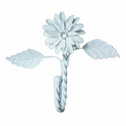 Single Hook White Zinnia with Leaves 7 Inch