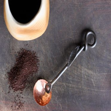Wrought Iron Coffee Scoop Leaf