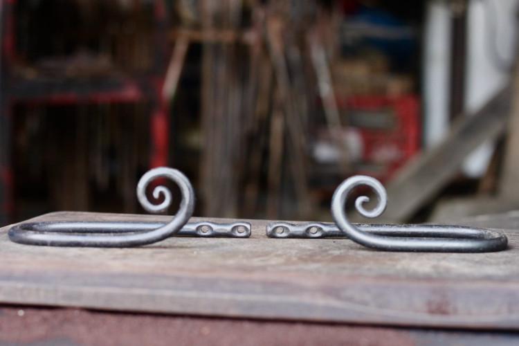 wrought iron curtain tiebacks scroll